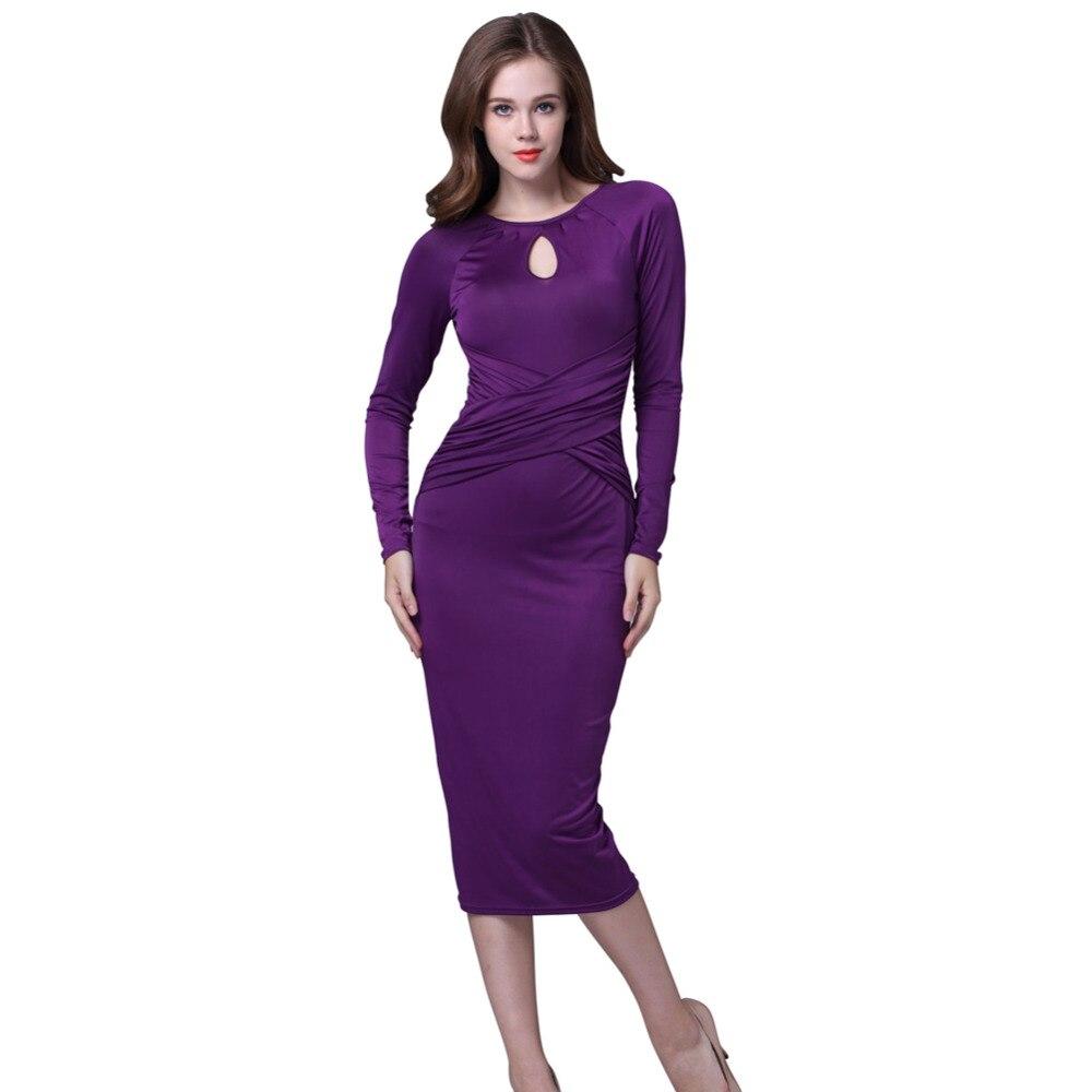 Invierno otoño Vestido de manga larga longitud de la rodilla vestido ...
