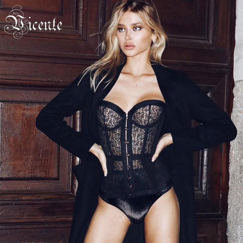 Vicente All Free Shipping HOT Stylish Lace Hook Embellished Bodysuit 2019 New Sexy Sleeveless Wholesale Women