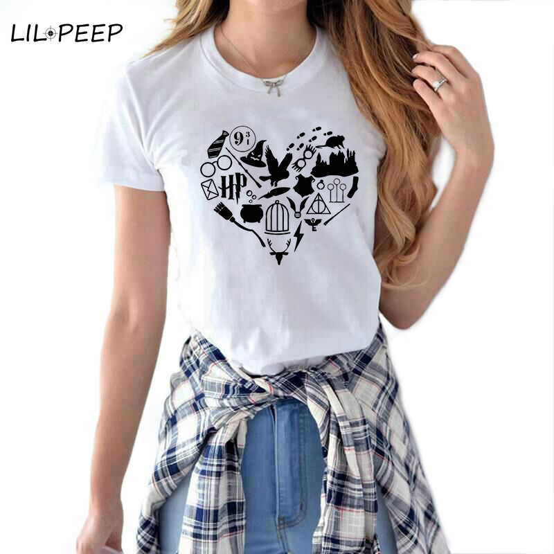 Verano amor Mujer Camiseta Streetwear algodón Potter moda Camiseta Mujer Kawaii ropa estética Harajuku Vintage