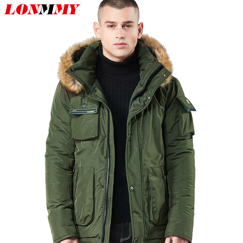 LONMMY Winter men jacket parka men Long coat Fake fur collar Thicken Warm Outerwear men Military army green windbreaker Hooded new men s military style casual fashion canvas outdoor camping travel hooded trench coat outerwear mens army parka long jackets