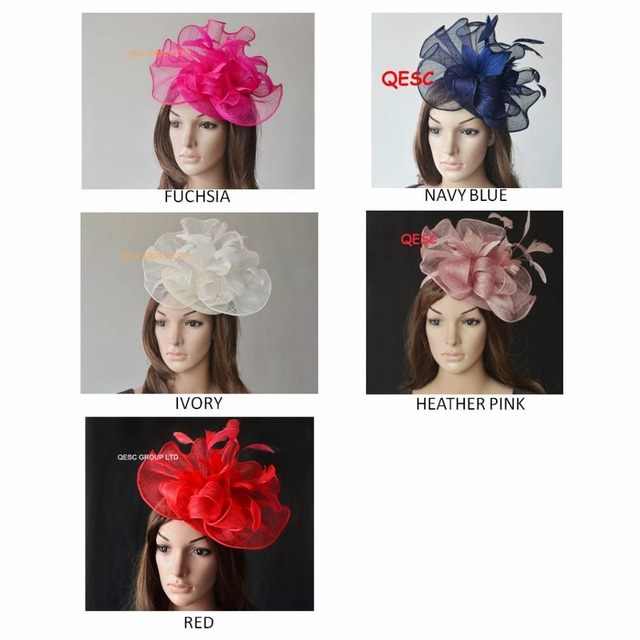 5d28e6cf Big Sinamay fascinator hat with feathers flower for kentucky derby wedding. fuchsia,navy blue,cream,heather pink