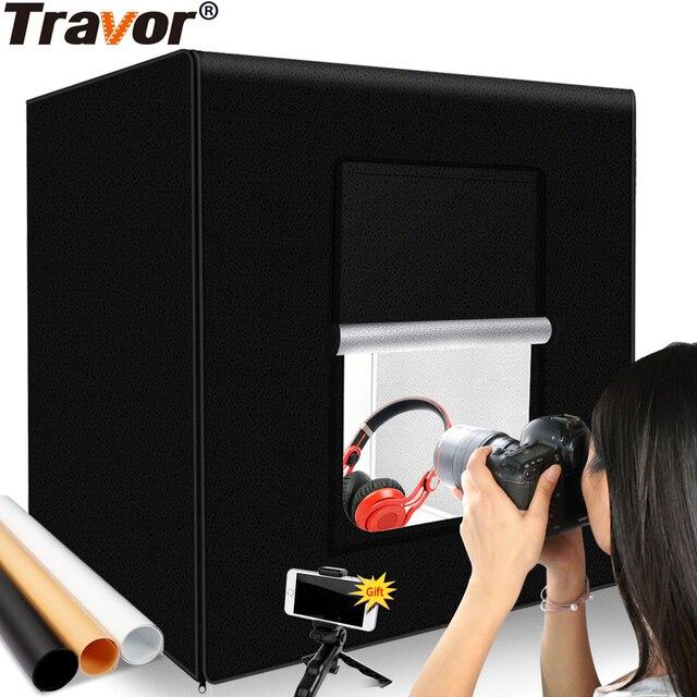 Travor写真スタジオライト60センチメートル48 75wフォトライトテント卓上撮影ソフトボックスと3色の背景写真ボックス