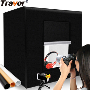 Image 1 - Travor Fotografie Studio leuchtkasten 60 cm 48W foto licht zelt Tabletop Schießen SoftBox mit 3 farben hintergrund Foto box