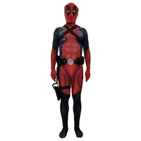 Deadpool Costume Cosplay Spandex Lycra Zentai Second Skin Tight Suit Adult Kids Red Full Bodysuit Halloween Party Costumes