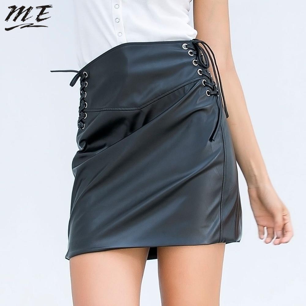Мне Для женщин кожаная юбка мода осень онлайн бинты Высокая талия черный мини-юбка Bodycon пикантные вечерние офисные Осень Юбки Женский