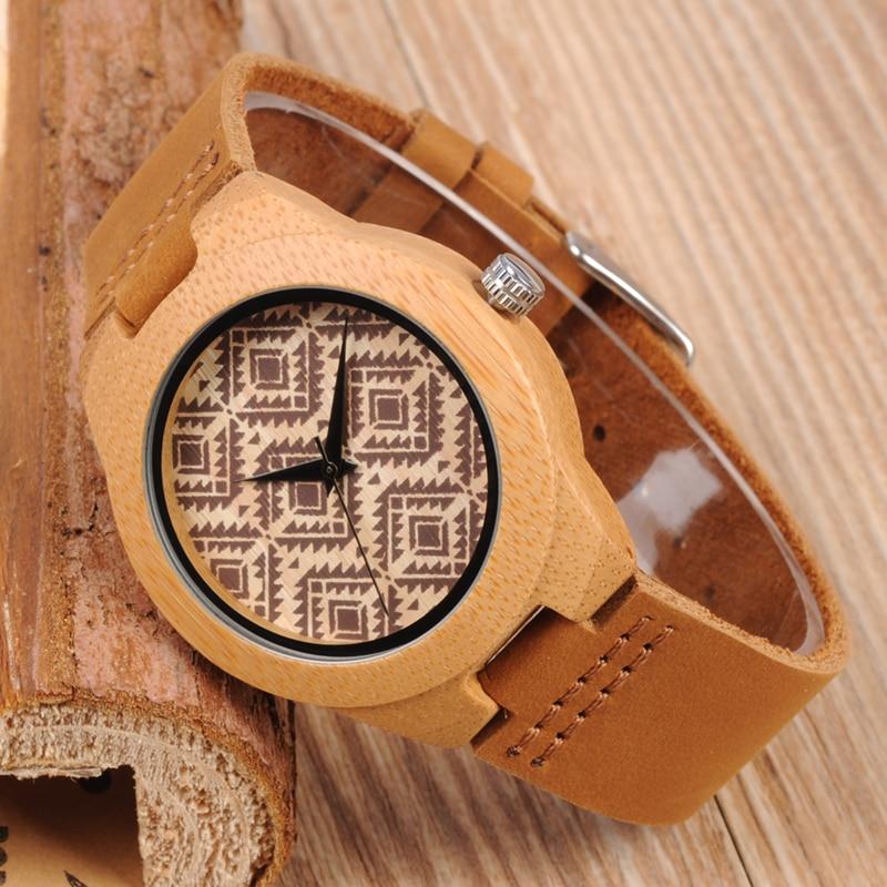 049cbd6767b BOBO PÁSSARO De Bambu Das Senhoras Relógios Com Couro Genuíno Couro Banda  Movimento Japão Relógio De Quartzo De Madeira Relógios relogio feminino  C-L18