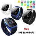 Smartwatch impermeable m26 bluetooth smart watch con led reproductor de música alitmeter podómetro para ios android smart phone