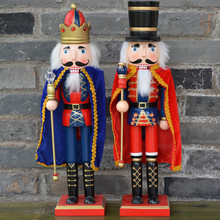 2pcs/set 37CM Christmas Nutcrackers crafts home deocration wood king Figurines ornaments For decoration
