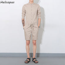 Helisopus 2019 Spring Summer Men's Leisure Youth Cotton Short Pants Jumpsuit Male One Piece Overalls Bib Pants Asian Size(China)
