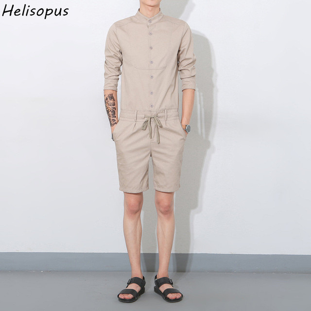 5ee96e3a193 Helisopus 2019 Spring Summer Men s Leisure Youth Cotton Short Pants  Jumpsuit Male One Piece Overalls Bib Pants Asian Size