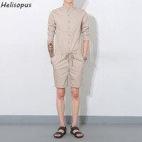 Helisopus 2019 Spring Summer Men's Leisure Youth Cotton Short Pants Jumpsuit Male One Piece Overalls Bib Pants Streetwear