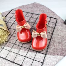 2018 мини Мелисса дети желе bowknife дождь Сапоги и ботинки для девочек Нескользящие Водонепроницаемый Обувь для девочек дождь Сапоги и ботинки для девочек прозрачная обувь принцессы Melissa Сапоги и ботинки для девочек