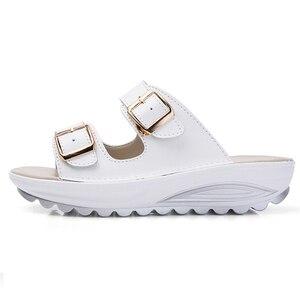 Image 2 - BEYARNE Komfortable frauen sandalen neue mode aus echtem leder schuhe frauen slip auf schuhe sommer frauen offene spitze strand sandalen