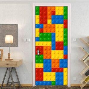 Image 3 - Настенные 3D обои для детской комнаты, кирпичи Lego, Декоративные самоклеящиеся дверные наклейки из ПВХ, водонепроницаемая