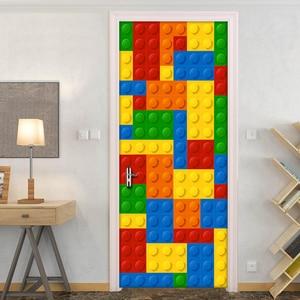 Image 3 - 3D Wall Mural Wallpaper Kids Room Lego Bricks Children Room Bedroom Decoration Self adhesive Door Sticker PVC Mural Waterproof