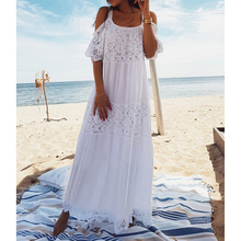 Fannic  New Lace Cotton Long Beach Cover Up Saida De Praia Sarong Bikini Cover Up Maxi Beach Dresses Tunic for Beach slit lace up tunic sweater