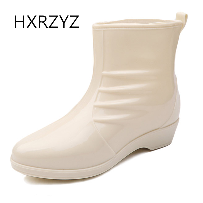 HXRZYZ women rain boots plus Cotton rubber ankle boots spring and autumn new fashion black waterproof Slip-Resistant women shoes  water shoes spring and autumn woman warm rain shoes and ankle rain boots lady waterproof fashion rubber boots