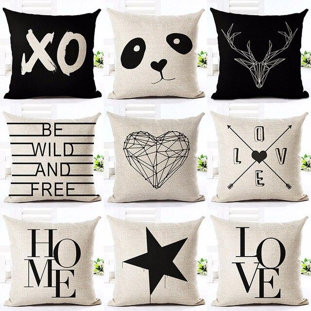 Ciervos Amor Panda Estrella Impreso Uso Cojín Funda de Almohada de Algodón de Lino Almohadas Decorativas Para El Sofá En Casa de Coches Oficina Cojines Almofadas
