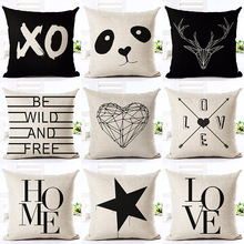 CV Deer Love Star Panda Printed Cotton Linen Pillowcase Decorative Pillows Cushion Use For Home Sofa Car Office Almofadas Cojines