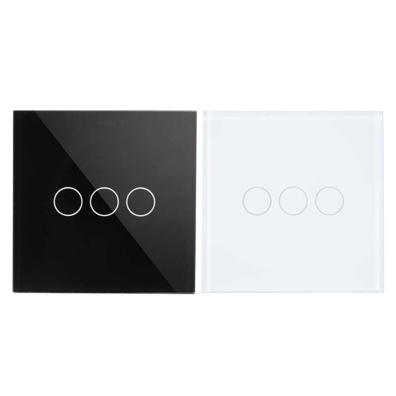 Wall Switch, 3-gang 2-way, AC110~250V, UK Touch Light Switch with LED Indicator, Black White Crystal Glass Panel makegood uk standard 2 gang 1 way smart touch switch crystal glass panel wall switch ac 110 250v 1000w for light led indicator