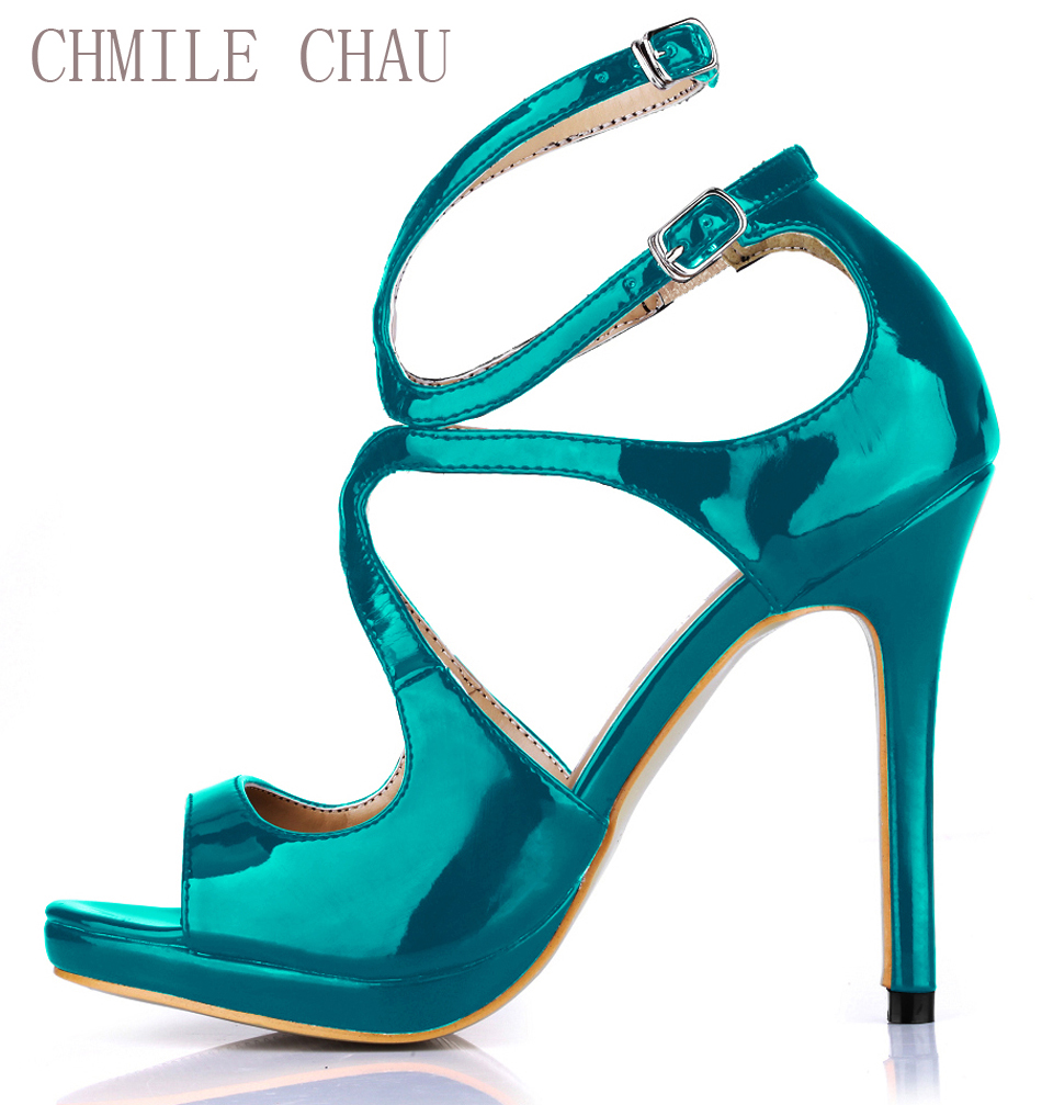 цены CHMILE CHAU Sexy Elegant Party Shoe Women Peep Toe High Heels Ankle Strap Lady Sandals Zapatos Mujer Plus Sizes 10.5 0640A-5b