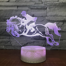 3D Led Visual Lighting Decoration 7 Color Changing Illusion Riding A Horse  Gifts Table Lamp Bedroom fb8f759fbe8c