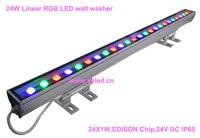 IP65  CE  хорошее качество  высокая мощность 24 Вт линейная RGB светодиодная настенная шайба  линейная 24 Вт RGB Светодиодная лампа для мытья  24*1 Вт  24...