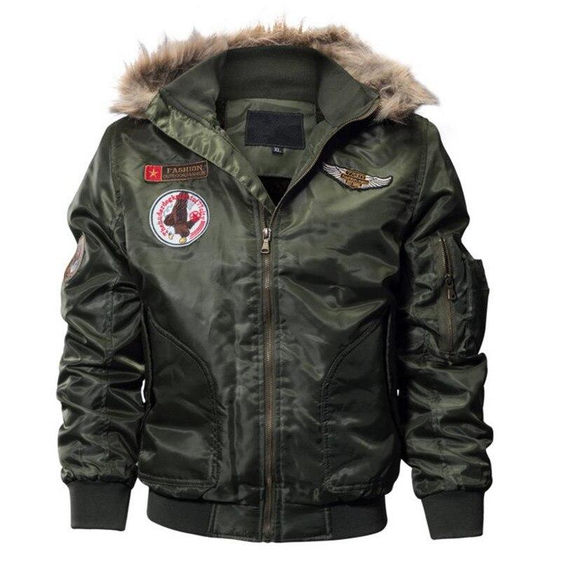 2018 manteau épais en peluche pour hommes veste d'hiver manteau armée vert hommes blouson aviateur volant manteau de rue