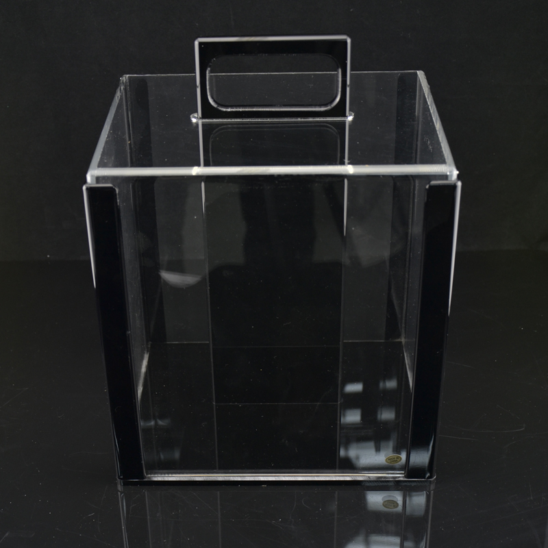 Good quality Portable poker chips suitcase large cases acrylic transparent  Black base 1000 yards code 1000pcs clips coin boxes