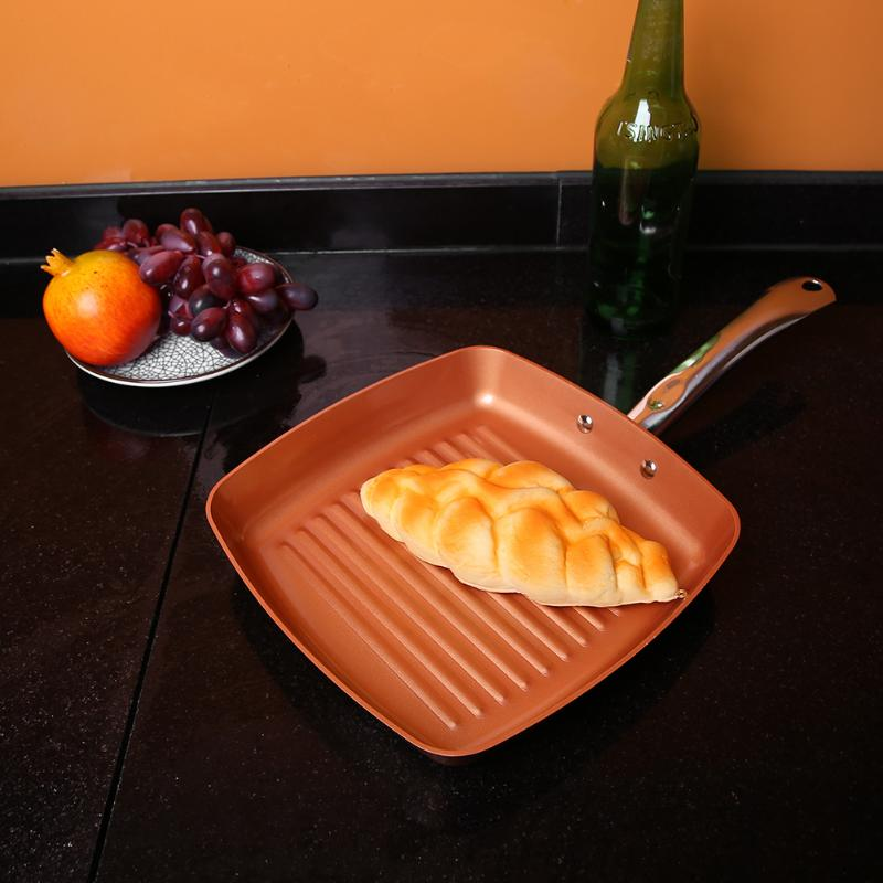 9.5inch Fry Pan Stainless Steel Non-stick Copper Square Frying Pans Heat Resistant Pancake Egg Pot Safe Cookware