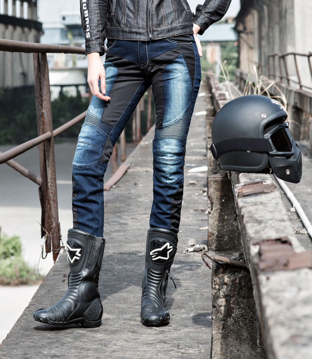 ФОТО uglyBROS JUKE UBP-01 blue mesh motorcycle riding pants jeans skinny pants female models ventilate close