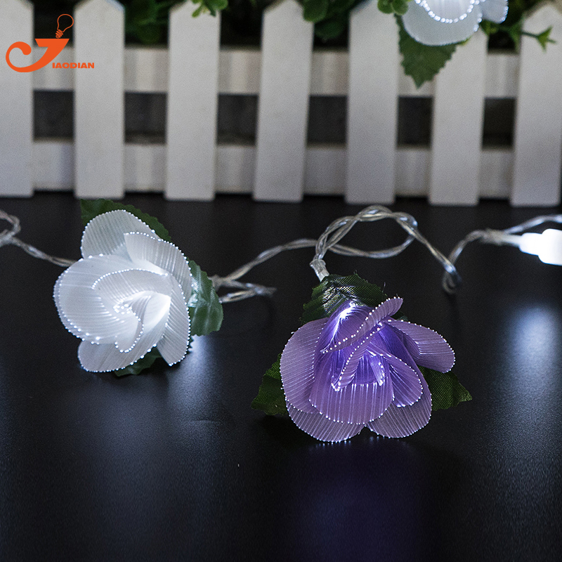 Purple Rose string lights 10pcs white flower led lighting fiber optical Spring decoration battery power party indoor fairy gift ...
