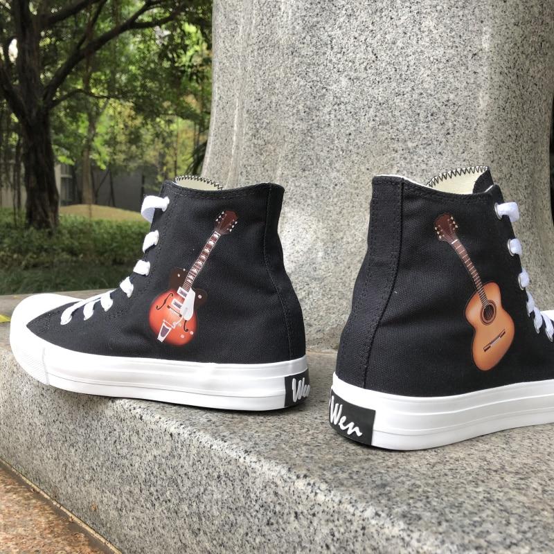 Wen Black White Classic Original Unisex Design Acoustic Guitar Musical Instrument Girl's Canvas Sneaker Hi top Boy's Skate Shoes canvas shoes original shoes designershoes skate - title=