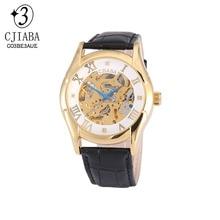 CJIABA Caja de Oro Reloj Mecánico de la Mano del Viento para arriba el Esqueleto de Cuero Real Azul Analógica Relogio Relojes de Los Hombres Regalos de Navidad