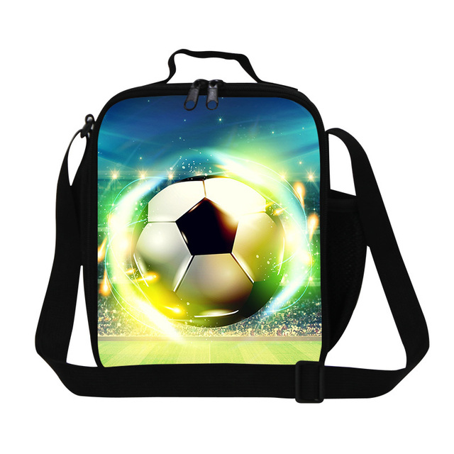 personalized cooler bags for boys school Ball Printed insulated food bags messenger lunch cooler bags for work lunch container