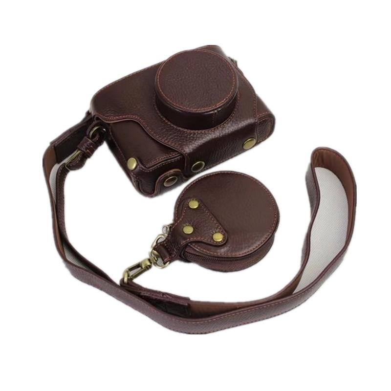 Black Coffe Camera Bag Genuine Leather Case Cover For Fujifilm Fuji X100F X100 F With Storage