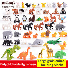 Legoing Duplos Animals Model Figures Giant Building Blocks Elephant Horse Whale Educational Toys For Kids Gift Legoing Dinosaur(China)