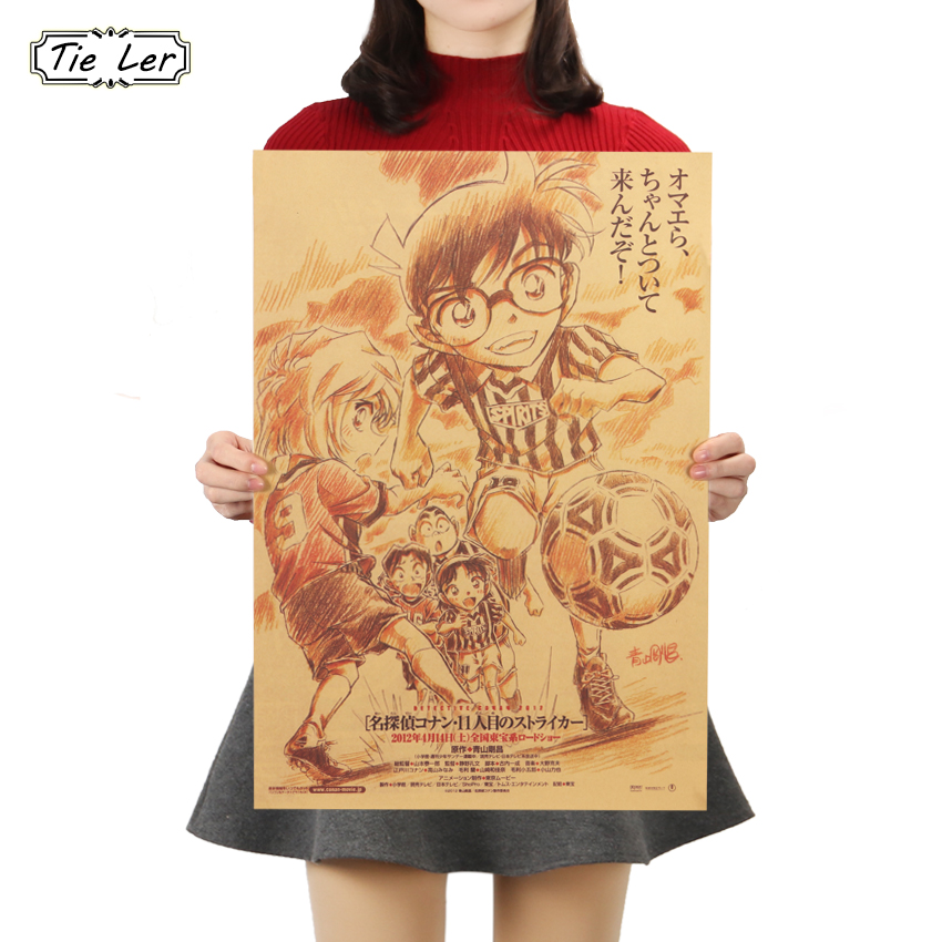 TIE LER Japanese Cartoon Comic Detective Conan Vintage Kraft Paper Poster Bar Decorative Painting Wall 50.5X35cm