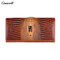 Women Wallet Female Coin Purses Holders Genuine Leather 3D Embossing Alligator Fashion Crocodile Long Clutch Wallets