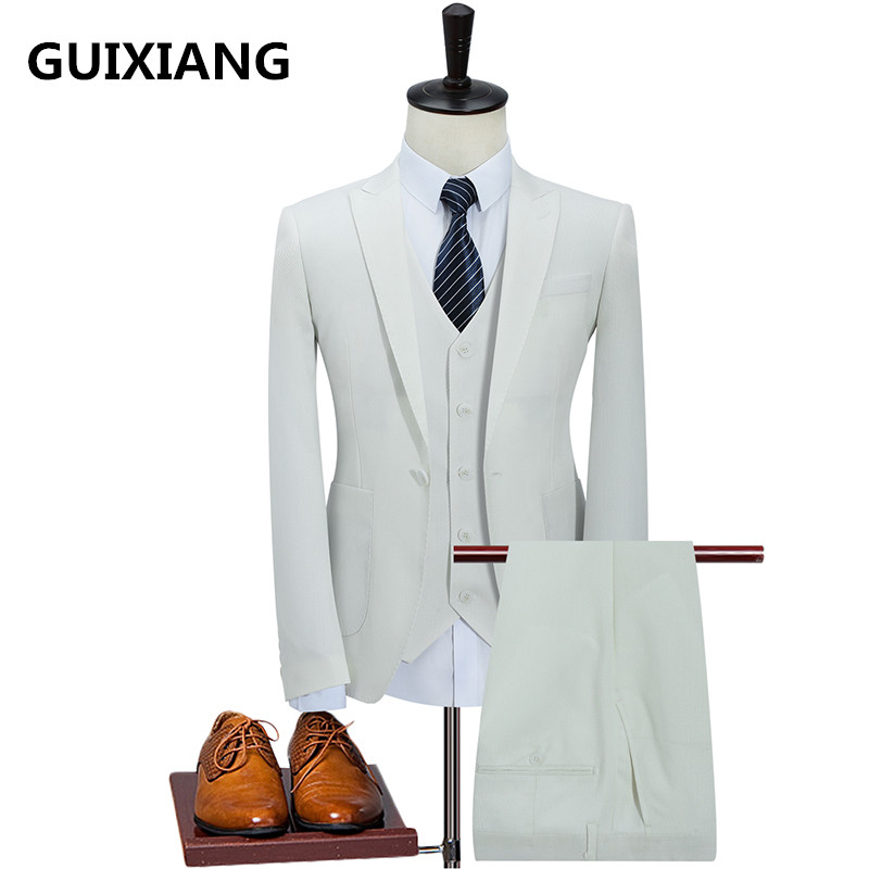 Jacket Vest Pants Men s wedding dress 2017 autumn new style Men s fashion wool
