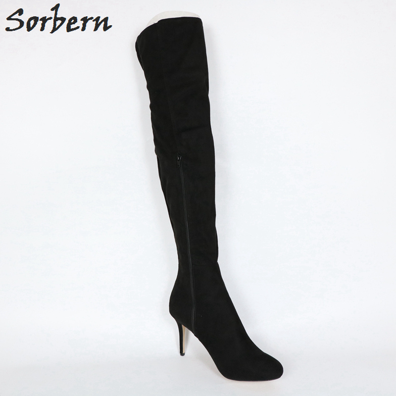 Classique Taille Pour La Plate 8 Sur Le Genou Talons Chaussures Noir Haute Noir forme Sorbern Femmes custom Color Mode Plus Bottes WYED2I9H
