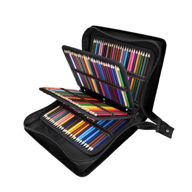 216 trous école porte-crayon PU cuir spirale pliage pénal étui à crayons grand Multi croquis stylo sac boîte pochette pour peinture enfants - 3