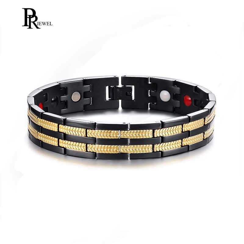 Kesehatan Pria Magnetik Gelang Hitam dan Emas Nada 4 Elemen Bio Energi Gelang Gelang Pria Hadiah Perhiasan
