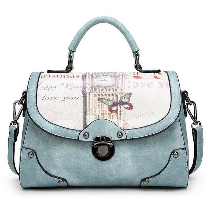 2017 women pu leather handbag vintage Printing bag brand shoulder bag messenger