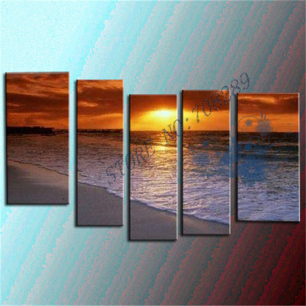 Modern Abstract Seascape Oil Painting Hand painted Canvas Painting Sun Beach Home Decor Wall Art Canvas Picture Unframe