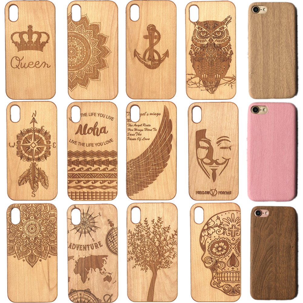 Laser Engraving Real Wood Cell Phone Case for iPhone XS MAX XR 7 8PLUS X Wooden Unique Shock Customized Bamboo Phone Cover Shell wood