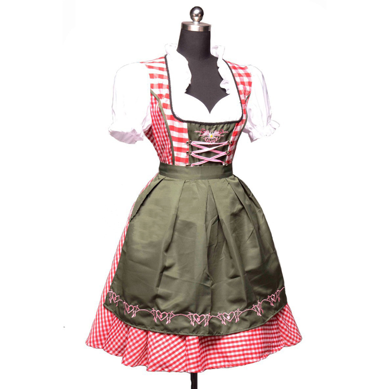 2Pc/Set Octoberfest German Beer Costume Bavarian Austrian Traditional Oktoberfest Dirndl Dress With Apron