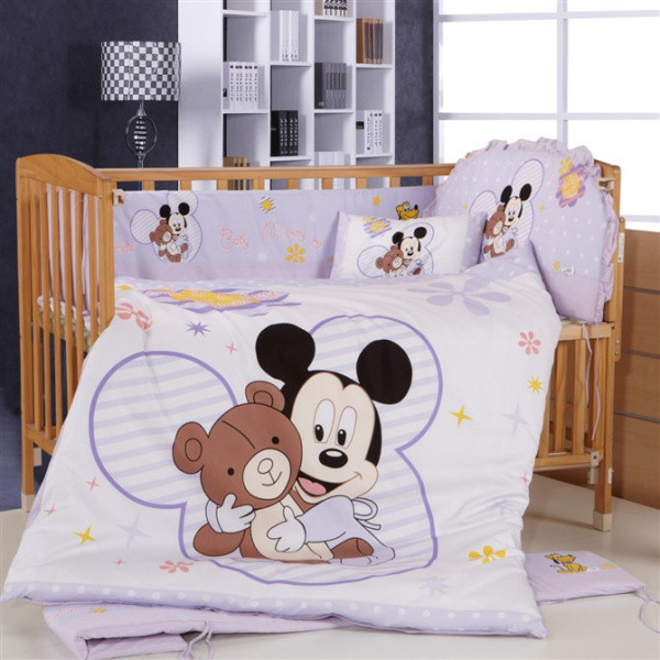 Hot Of 100 Cotton 7 Pieces Cartoon Mickey Minnie Mouse Environment Friendly Printing Baby Crib Bedding Set In Sets From Mother Kids On