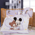 hot sell of  100% cotton 7 pieces cartoon mickey minnie mouse environment-friendly printing baby crib bedding set