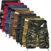 Мужские шорты-карго в стиле милитари, летние, камуфляжные, из чистого хлопка, брендовая одежда, удобные, мужские, тактические, камуфляжные, карго шорты